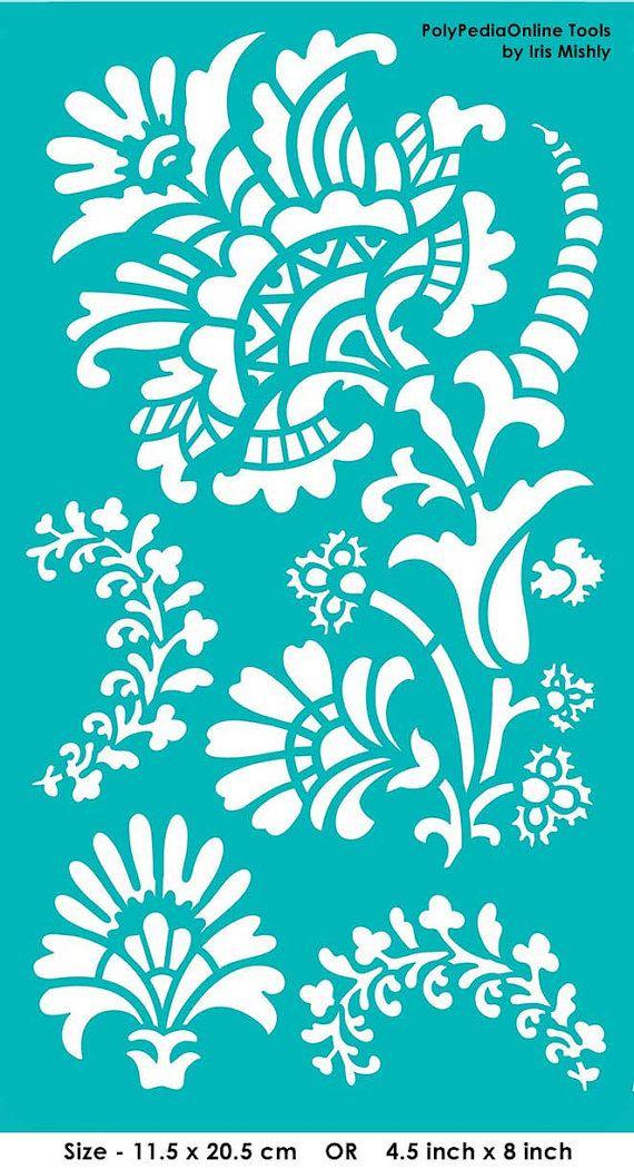 Modèles de pochoirs pochoir « Floraison fleurs », auto-adhésif, souple, pour la pâte polymère, tissu, bois, verre, fabrication de cartes