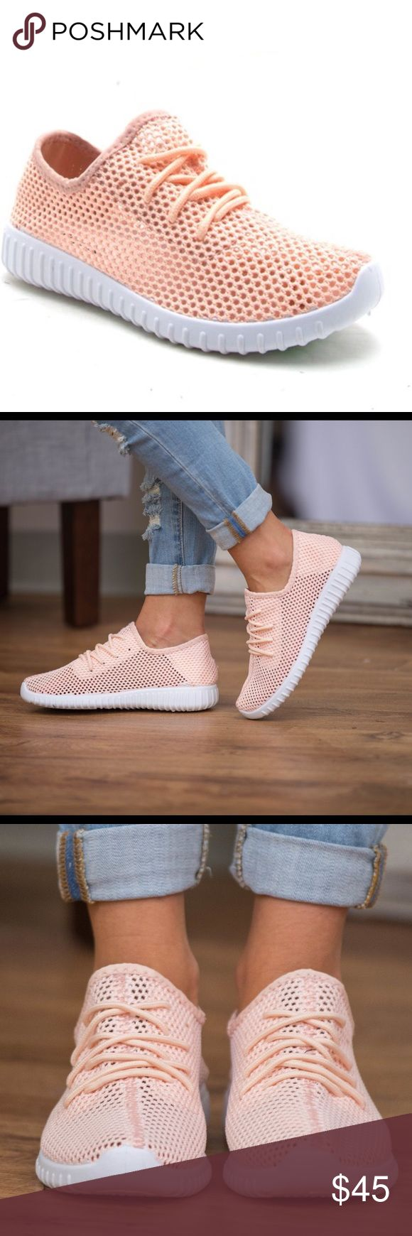 🆕Peach Mesh Sneakers Peach mesh knit sneaker.  Breathable light peach materia…