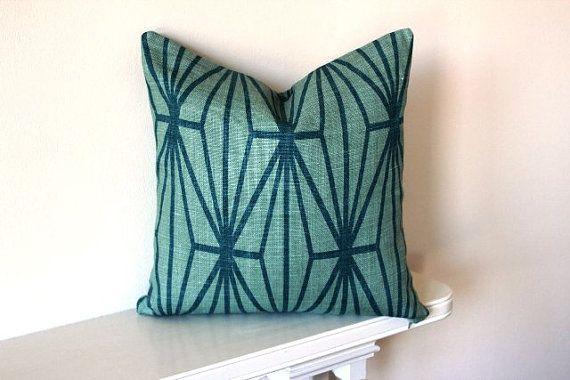 Kelly Wearstler Katana Teal Cushion Cover 20 Inch via Etsy