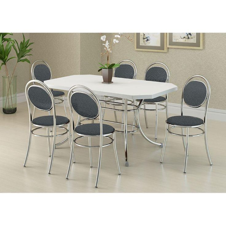Informado: Mesa 1507 Cromada Com 6 Cadeiras 190 Carraro   Branca/