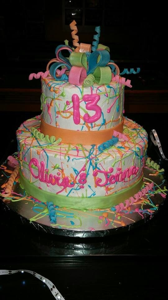 Neon-Glow in the dark party cake