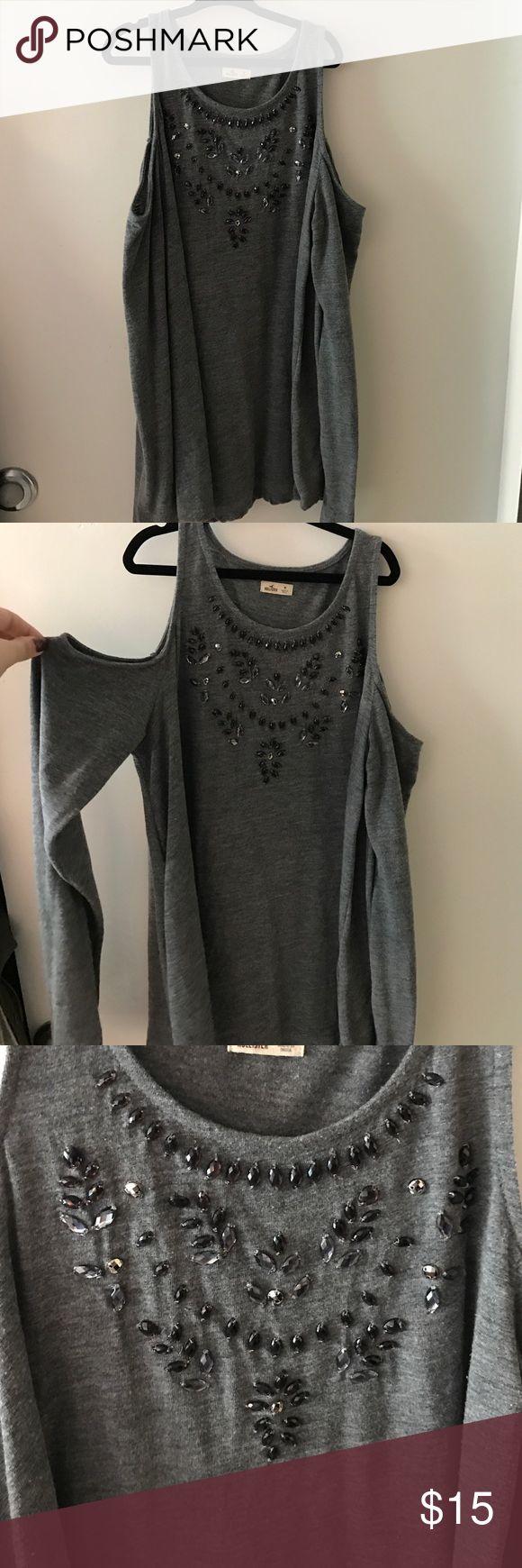 Hollister shirt Grey log sleeve Hollister cut out shirt Hollister Tops Tees - Long Sleeve