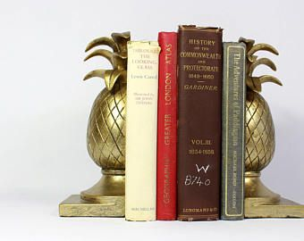 Gold Pineapple Book End, Vintage Reproduction, Hollywood regency Accessories,Palm Beach, Tropical Living, Beverly Hills, Bookend