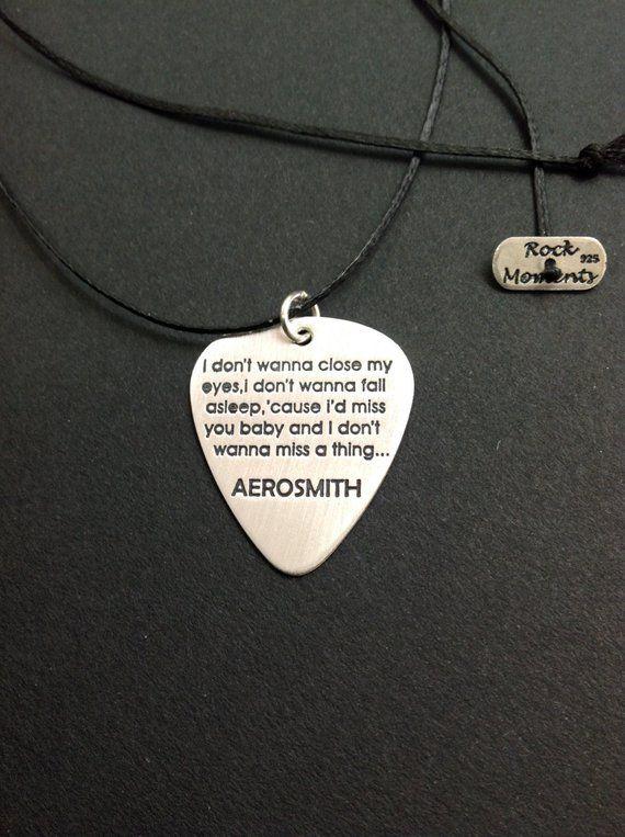 Aerosmith Guitar Pick Necklace Custom Guitar Pick Pendant