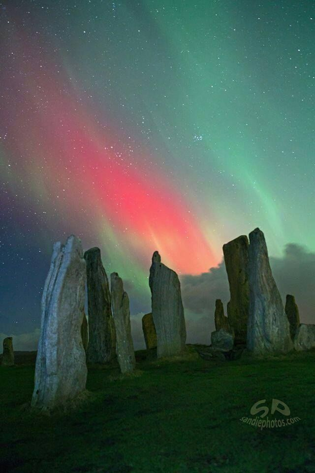 """""""Callanish Stones On Fire! Isle of Lewis, Scotland © sandiephotos.com"""" Caption credits go to the Ancient Celts Facebook page."""
