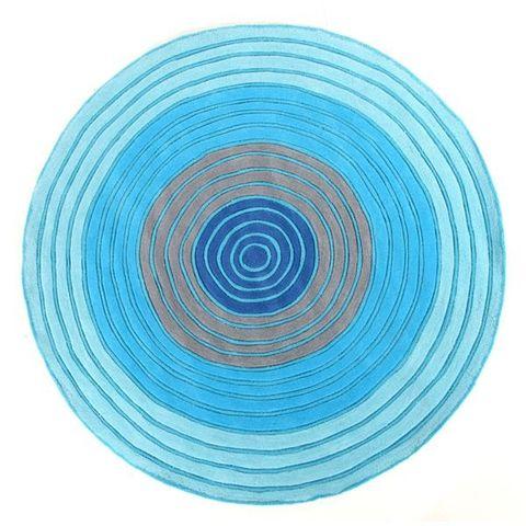 Circles Blue 150 x 150 cm Round Floor Rug