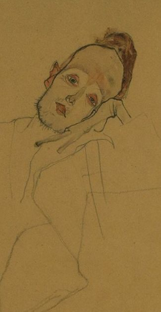 Egon Schiele (1890-1918) Portrait of a painter (Zakovsek) 1910 (pencil, charcoal and watercolor)