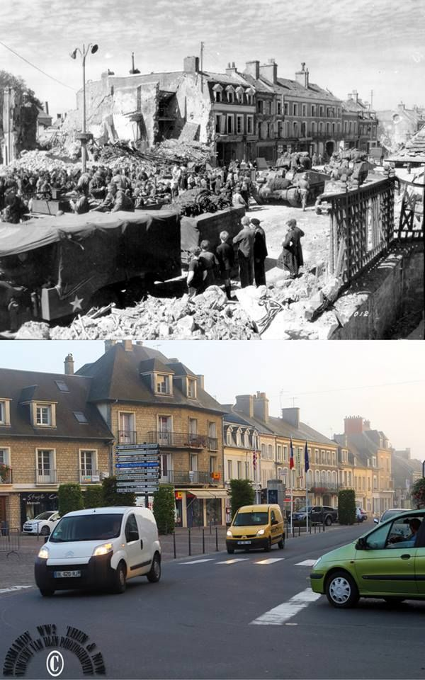 Then and now... Isigny-sur-Mer - U.S. troops among civilians, Sherman tanks and vehicles enterarrive Place Gambetta (today Place general de Gaulle) which was destroyed by two bombardments on 8 June 1944 (© Normandy WW2 Then & Now)