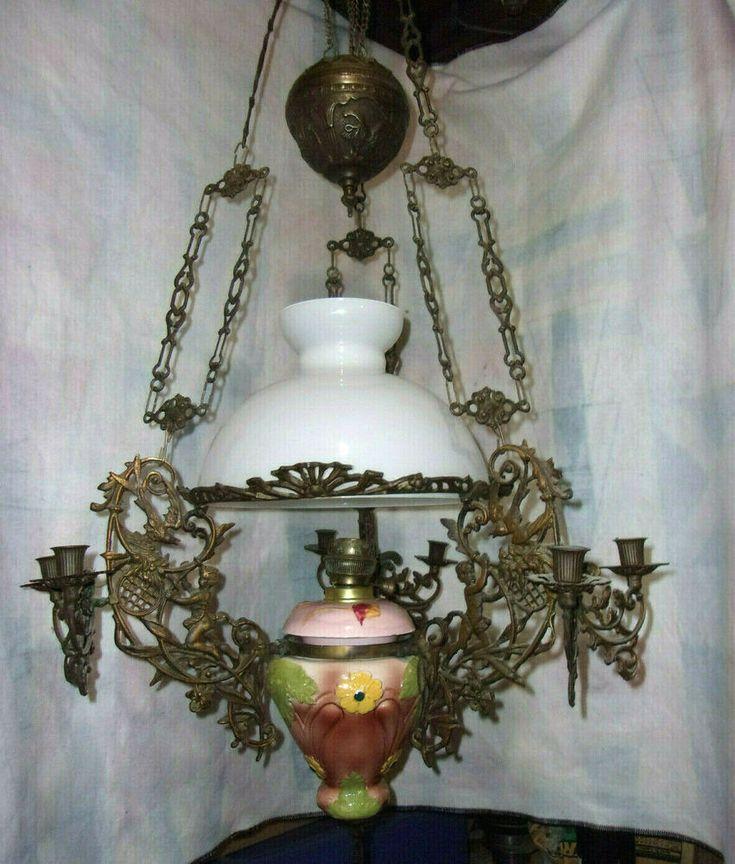 eBay Sponsored 1800's French ? Large Hanging oil lamp
