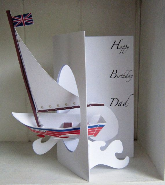 Pop-up Personalised Handmade Sailing Boat Birthday Card.
