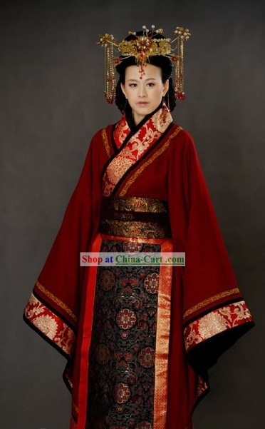 Ancient Chinese Wedding Clothing and Hat for Brides
