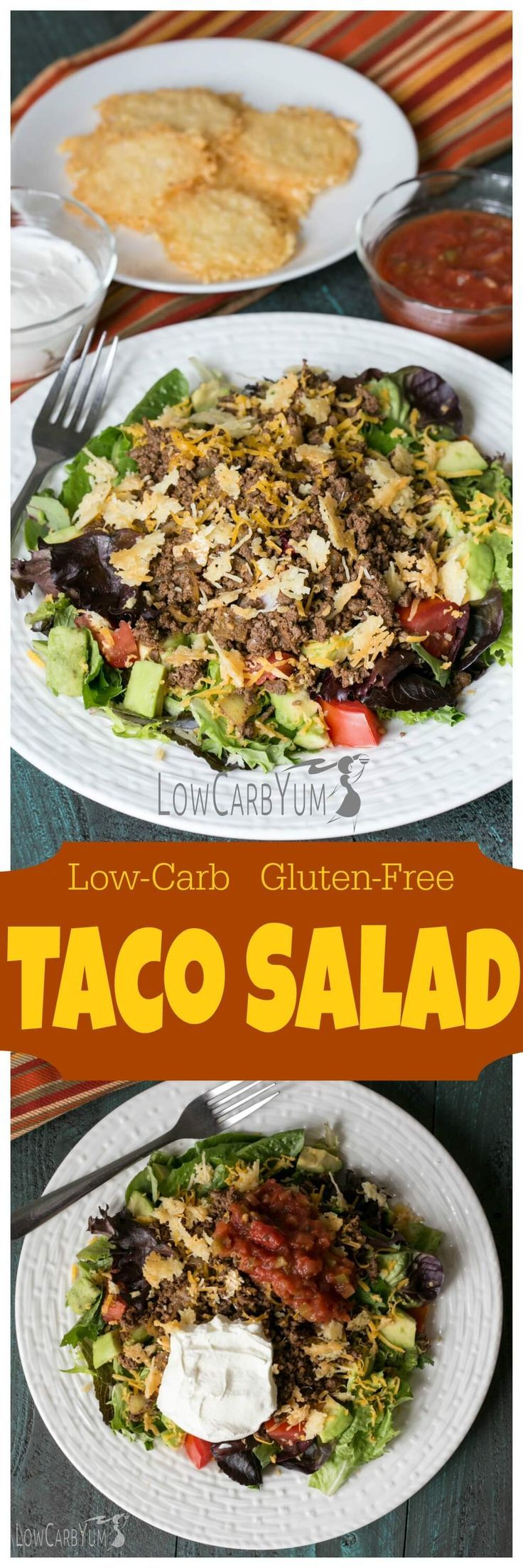 Enjoy the taste of tacos in an easy to make low carb gluten free taco salad. Simply add taco meat and topping to your favorite lettuce mix. | http://LowCarbYum.com
