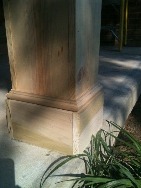 diy columns. I like the detail to the bottom of these diy columns (decorative trim and poplar pieces).