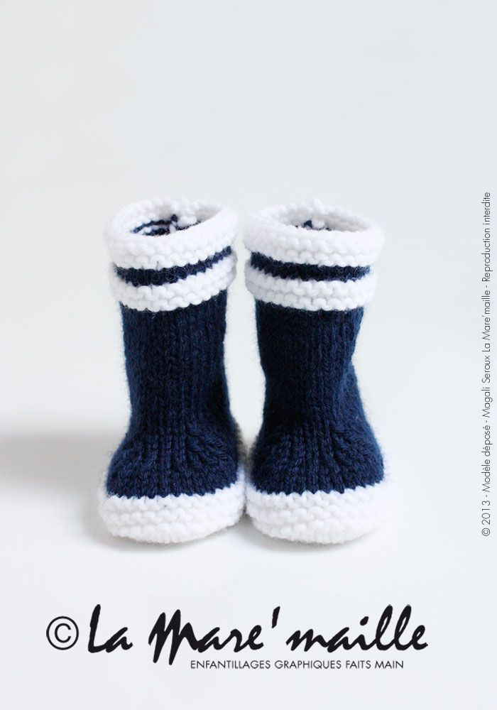 Bottes bébé marin en maille bleue inspirées des bottes Aigle®