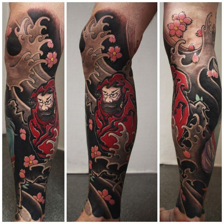 Japanese Style Sleeve Tattoo Flowers Koi Samurai: Japanese-flowers-and-yakuja-leg-tattoo.jpg