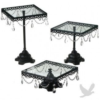Jeweled Black Square Cake Stand Set (Set of 3 Cake Stands), $136.00 at Koyal Wholesale.