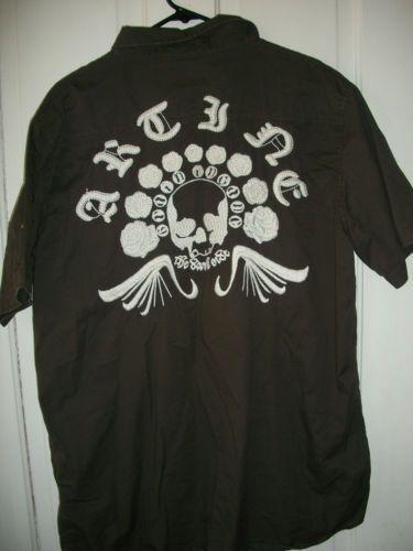 Mens-Artine-XXL-Button-Down-Shirt-Skulls-Punk-Rock