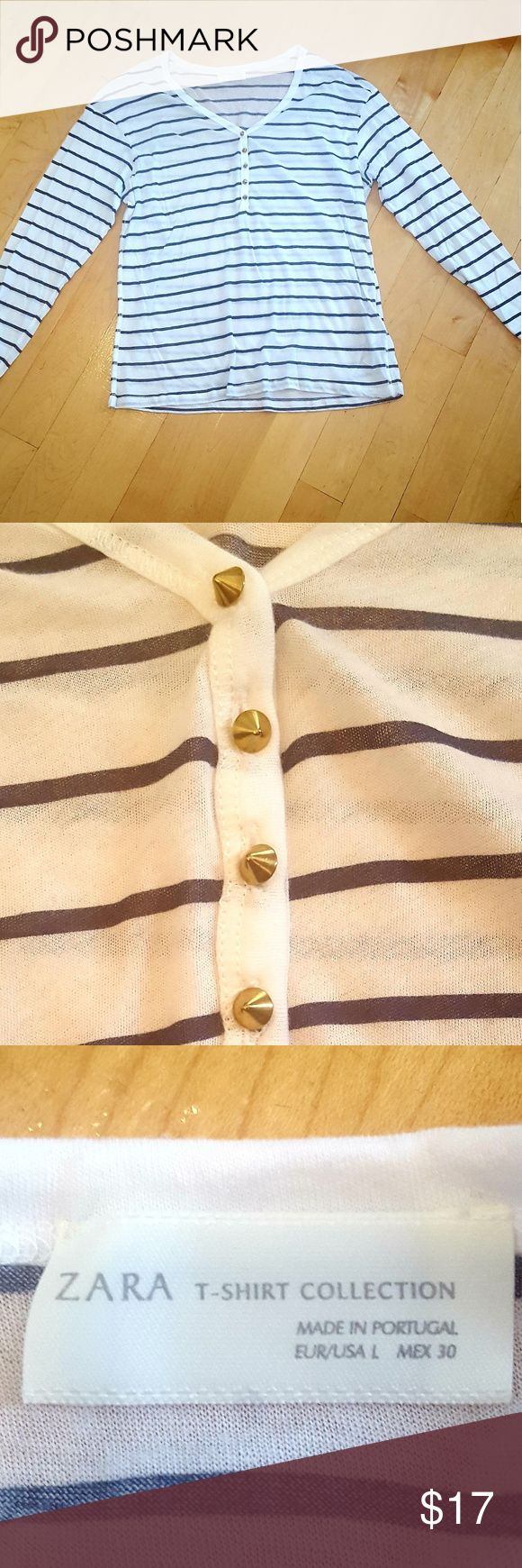 White Zara Top w/Navy Stripes White long sleeve top, from Zara. Navy blue stripes. Gold spike buttons. NWOT. Never worn. Very lightweight and soft. Zara Tops Tees - Long Sleeve