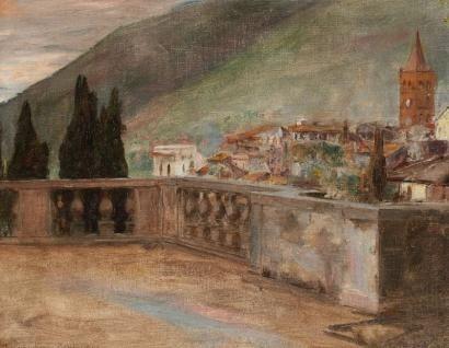 Samuel HIRSZENBERG (1865-1908) Terrasse à Tivoli, 1901 Huile sur toile. Signée, s