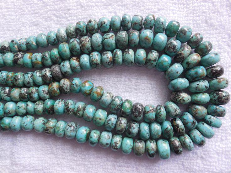 Half Strand Natural Tibetan Turquoise Beads,Turquoise Rondelle Beads,Turquoise Plain Bati Beads Size 6-10MM by InternationalByBeads on Etsy