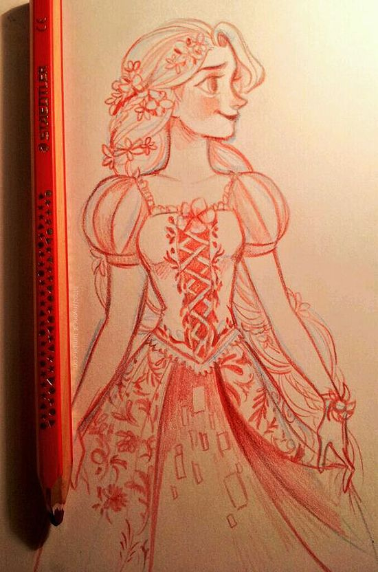 "nyoncat: "" Rapunzel sketch, based on the Couture de Force figurine by Enesco """
