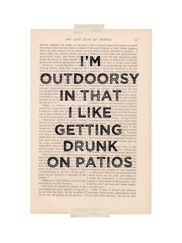 dictionary art print - I'm OUTDOORSY In That I Like Getting DRUNK