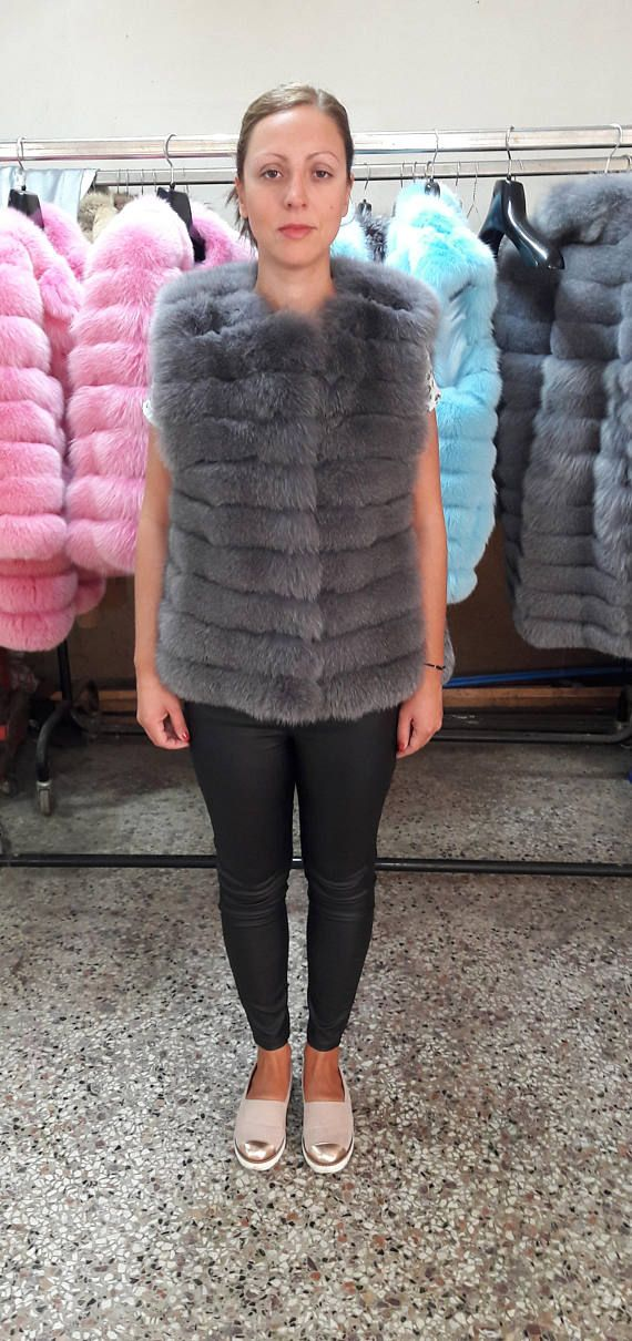 REAL fOX fUR VEST GRAY see pictures for a variety of colors