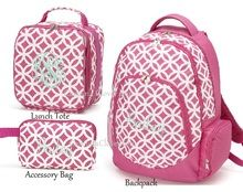 Pink Personalized Backpack Set with Optional Matching Lunch Bag