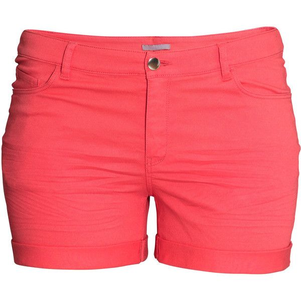 H&M+ Twill shorts ($20) ❤ liked on Polyvore featuring shorts, bottoms, pants, pants and shorts, plus size, light red, h&m, plus size red shorts, h&m shorts and plus size shorts