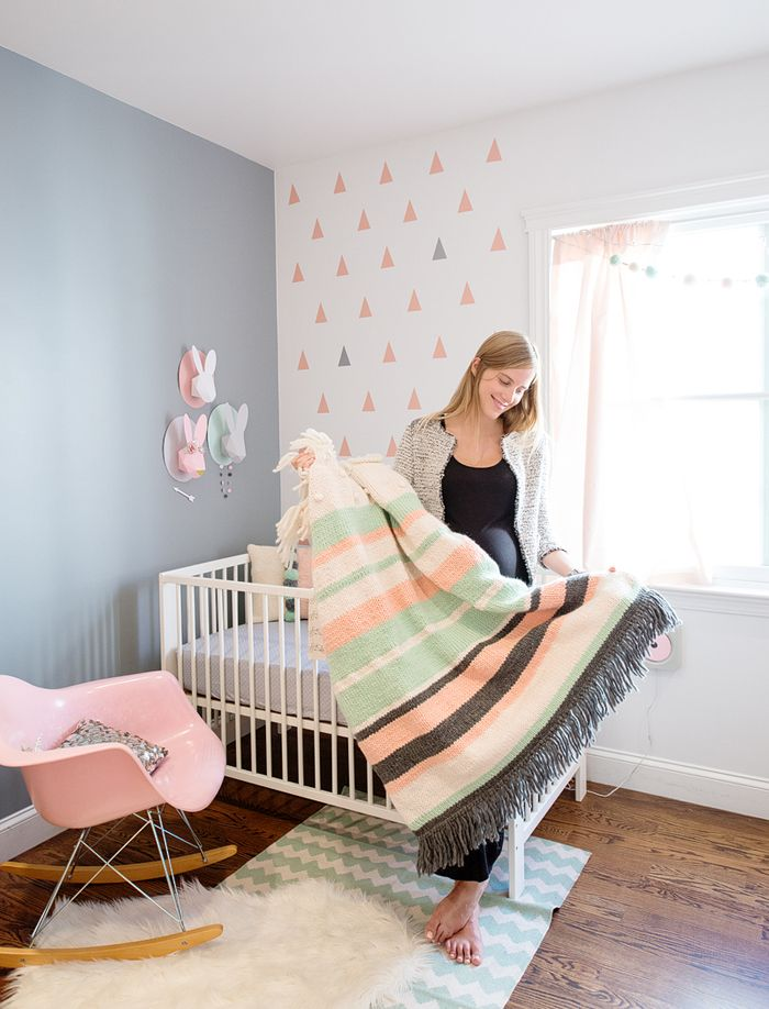 In my baby's nursery. Hand knitted blanket. Photo by Modern Kids Co. http://blog.chloefleury.com/2013/07/22/welcome-to-my-babys-bunnyland/