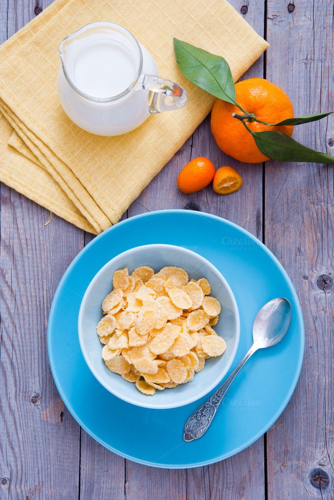 Healthy Breakfast With Corn Flakes By Letterberry On Creative