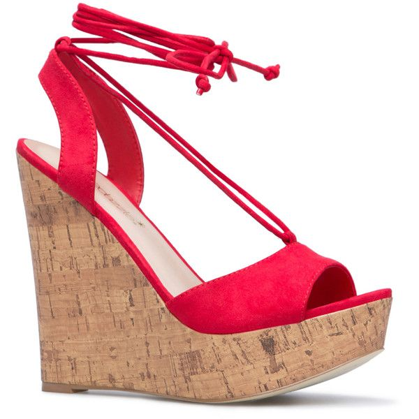 ShoeDazzle Wedge Yahari Womens Red ❤ liked on Polyvore featuring shoes, red, wedges, special occasion shoes, red wedge shoes, red wedge heel shoes, wedge shoes and wedge heel shoes