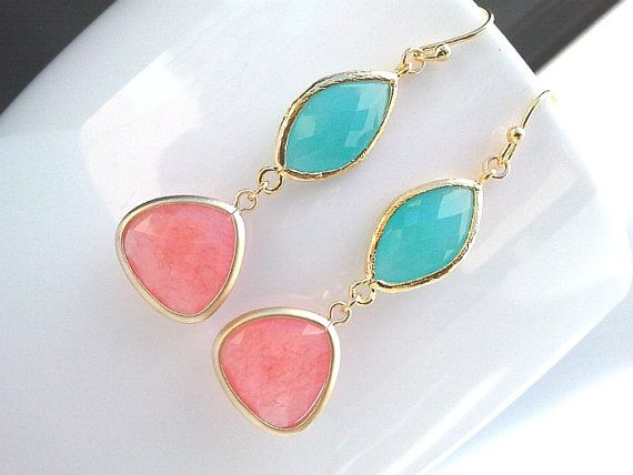 Spring Collection Coral Pink and Mint Blue gorgeous Earrings ,Drop, Dangle, Glass Earrings, bridesmaid gifts,Wedding jewelry on Etsy, $33.00