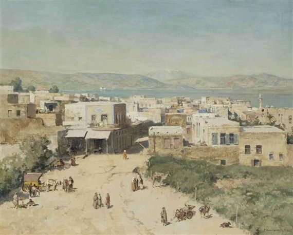 Artwork by Cornelis Vreedenburgh, The town of Tiberias on the Western shore of the sea of Galilee, Israel, 1935 Made of oil on canvas