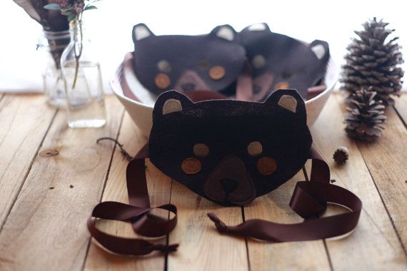 Felt Bear Mask With Satin Ties by FloraFaunaCollective on Etsy