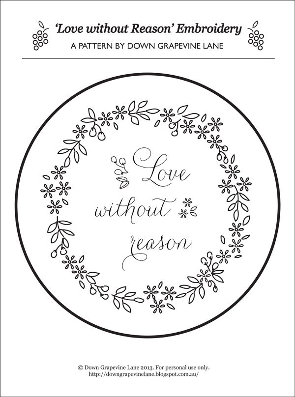 Tutorial: Love without Reason embroidery ~ by Down Grapevine Lane