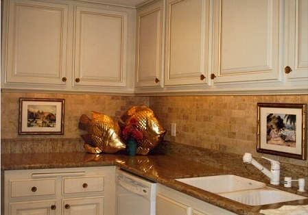 i like the combo of natural stone brick set backsplash
