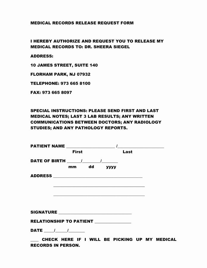 Medical Record Forms Pdf