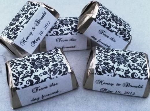 210 Damask Personalized Candy labels/wrappers/stickers 4 wedding & party favors