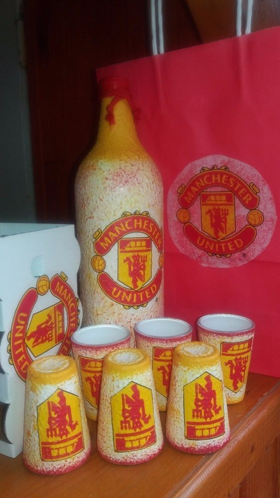 Decoupage football Manchester United set of liquor bottle + glasses in paper bag | Sports Mem, Cards & Fan Shop, Fan Apparel & Souvenirs, Soccer-National Teams | eBay!