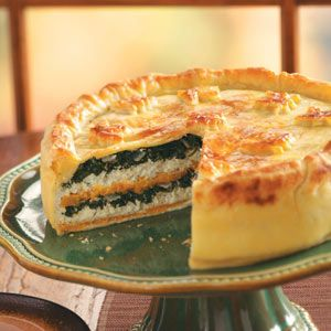 Autumn Torte Rustica Recipe. --~>The wonderful flavor and lovely look of this cheese and vegetable pie is worth the bit of extra effort it takes to prepare it. The butternut squash adds a subtle sweetness that's irresistible. Slices make a great appetizer, or serve it with soup or salad as a light meal. —Taste of Home Test Kitchen