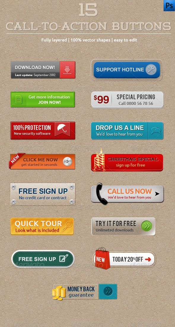 15 Call To Action Buttons Template PSD. Download here: http://graphicriver.net/item/15-calltoaction-buttons/3063410?s_rank=285&ref=yinkira