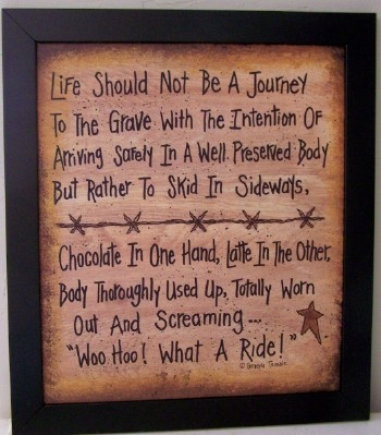 Life Should Not Be A Journey to Grave ... Slide in Woo Hoo What A ride sign-John Wayne quote, life journey to grave sign, motivational wood sign, hand crafted inspirational sign, primitive country folk art, chocolate sign