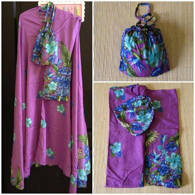 Mukena Bali Purple Blue @ 170 K Ukuran Jumbo Bahan Katun Rayon