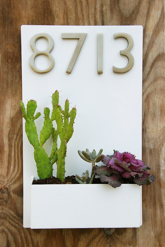 "12"" x 20"" Modern White Lacquer Wall Planter with Brushed Aluminum Address Numbers, Wall Planter and Address Sign - Free Shipping"