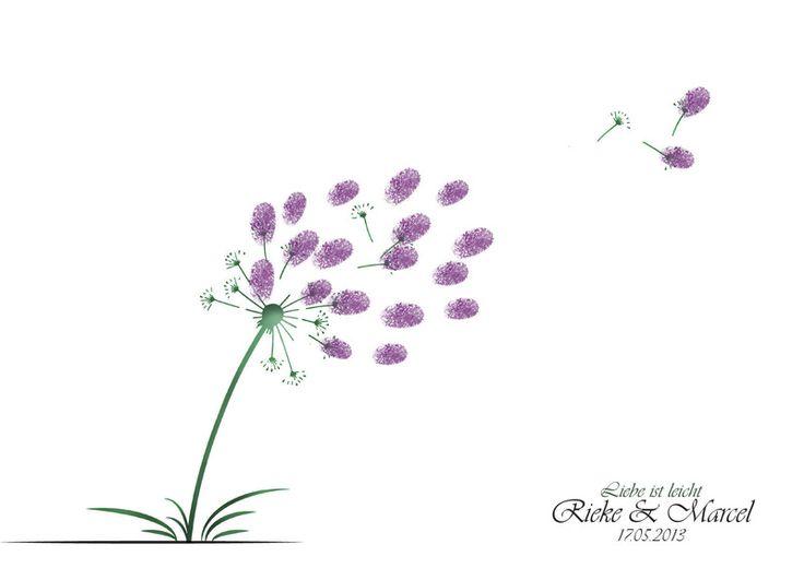 Pusteblume - Wedding Tree Fingerabdruck Gästebuch von mimulusDesign auf DaWanda.com