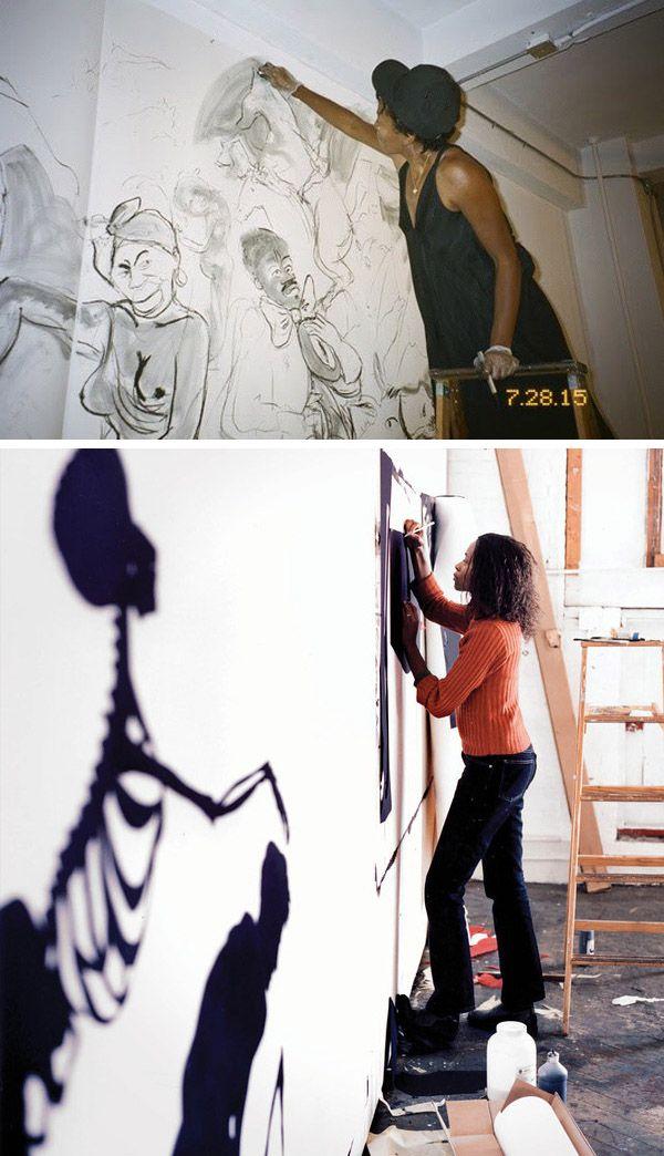 Kara Walker working in her studio