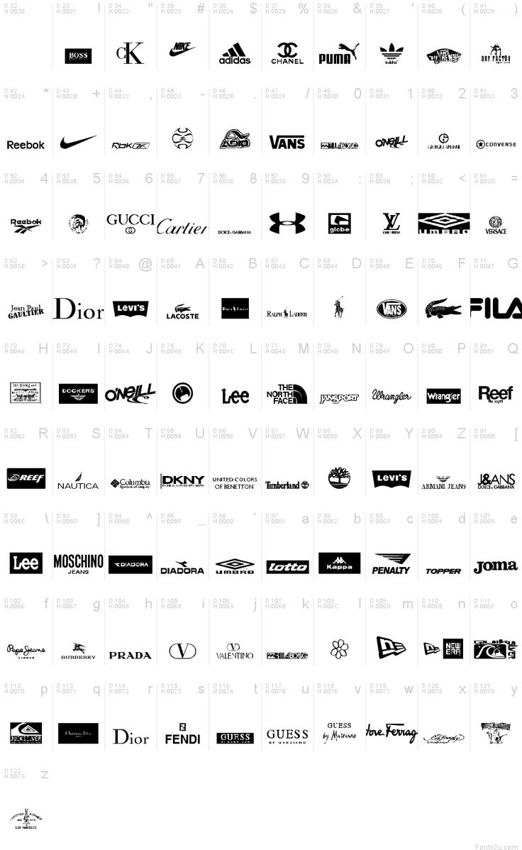 Sports clothing logos and names