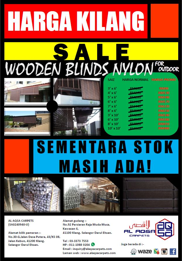 #SpecialOffer #Murah [ 50% #OFF ] Cheap #WoodenBlinds Nylon in #Malaysia #CheapPrice (3' x 6' ) Normal Price RM180 Now #Only at #RM50 Write PM in #comment or Request a #FreeQuote here : http://www.alaqsacarpets.com/request-quote Call 0162398908 - 01110881352 Email: mona@alaqsacarpets.com #NewYearOffer #50OFF #AlaqsaCarpets #Wooden #Blinds #AlaqsaCarpetsAtDKebun
