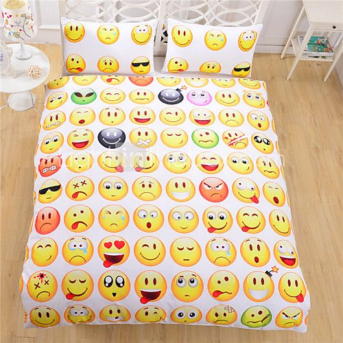 Hot Sale Emoji Bedding Set Interesting and Fashion Duvet Cover for Young People New Year Bed Sheets 3Pcs Twin Full Queen - USD $46.99